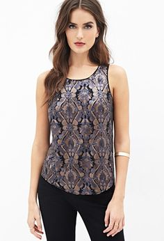 Contemporary Sequined Damask Tulip-Back Top | Forever 21 - 2052289057