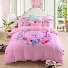 Papa&Mima Floral Garland Pink Queen/King Size Bedding Sets 60S Thick Soft Sanding Cotton Fabric Winter Warm Flat Sheet Sets