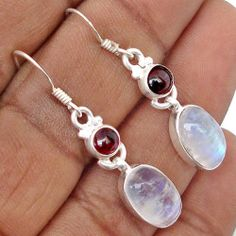 10 97cts Natural Rainbow Moonstone Gemstone 925 Silver Dangle Earrings B4377 | eBay