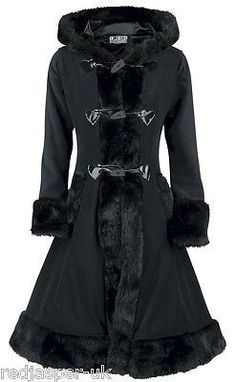 Poizen Industries Emo Gothic Punk MINX Coat Ladies Black Ladies Fur Button Cosy: Amazon.co.uk: Clothing