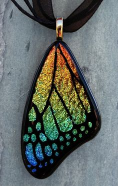 Fused Art Glass Jewelry Butterfly Art Pendant from Fused Elegance on Etsy