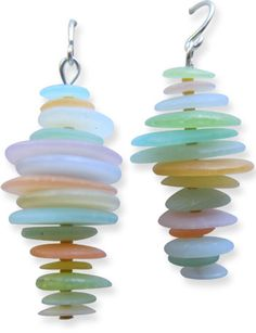 faux sea glass earrings. Polymer clay translucent