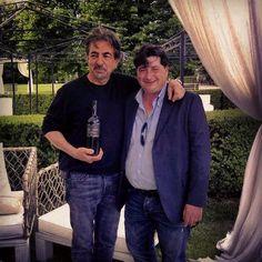 Actor Joe Mantegna and Chiaromonte Cellar's owner sharing some love to this rare Primitivo Riserva bottle. Joe Mantegna, Wines, Vineyard, Bomber Jacket, Actors, Bottle, Primitive, Vine Yard, Flask