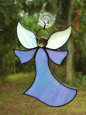 Iridescent Light Blue Handmade Stained Glass Angel Suncatcher with Halo