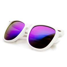 b928c6f995 Oversized Mod White Frame Flash Mirror Lens Horn Rimmed Sunglasses