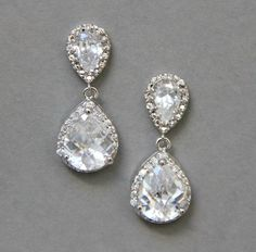 Wedding earrings rhinestones earrings stud by LavenderByJurgita, $47.00
