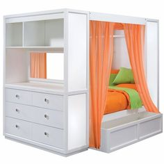 Bed includes magnetic dry erase panels for displaying photos, notes and artwork; four sheer, orange curtain panels as shown; and plenty of storage shelves, drawers for clothing and under-bed storage for quick clean ups!