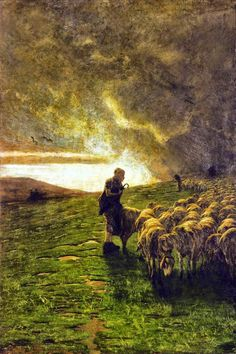 """""""After the Storm"""". by Giovanni Segantini ( 1858 - an Italian painter known for his large pastoral landscapes of the Alps. Love Painting, Painting & Drawing, Sheep Art, Most Famous Artists, Kunst Online, The Good Shepherd, Italian Painters, Victorian Art, Italian Art"""