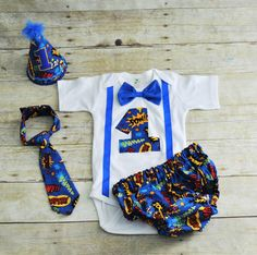 super hero cake smash outfit, comic book cake smash, First Birthday Outfit, 1st birthday outfit, pow wow, super hero banner, bunting, hat by RYLOwear on Etsy
