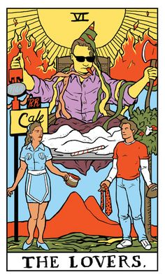 "The Lovers Twin Peaks tarot card by Benjamin Mackey. ""New shoes!"""