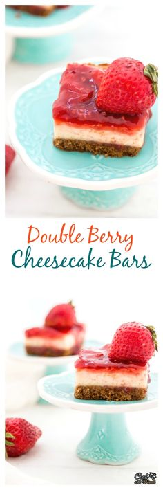 Celebrate National Cheesecake Day with these Creamy Cheesecake Bars with Strawberry and Raspberry topping! #cheesecake #nationalcheesecakeday