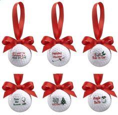Golf Balls - Golf Ball Ornament with Red Ribbon 6 Different sayings Ganz EX28451 #Ganz