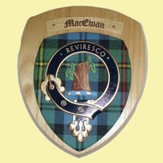 MacEwan Clan Crest Tartan 10 x 12 Woodcarver Wooden Wall Plaque - For Everything Genealogy
