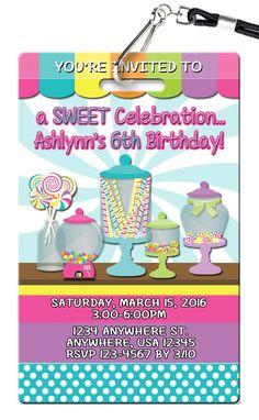 Candy Buffet Birthday Invitations