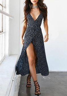 Floral Print Chiffon Long Dress Sexy V Neck Backless Boho Beach Dress Vestidos Women Split Summer Sundress Maxi Dress 32829485597 Vestido Maxi Floral, Boho Floral Dress, Floral Dresses, Bohemian Dresses, Floral Tunic, Bohemian Style, Hippie Chic, Boho Chic, Sexy Dresses