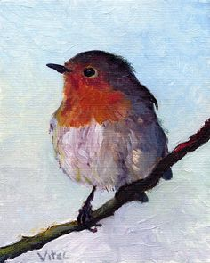 Birds painting by Vitec: Two Robins