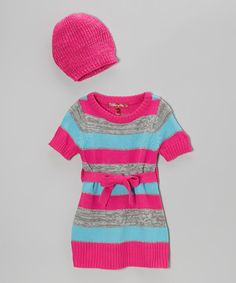 Take a look at this Lollipop Pink Stripe Sweater Dress & Beanie - Infant & Toddler on zulily today!