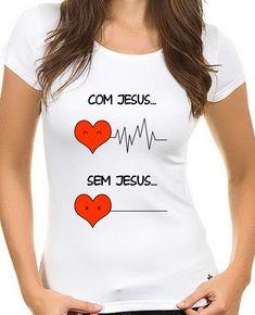 Camiseta Evangélica Com Jesus Best Friend Shirts, Dad To Be Shirts, Family Shirts, T Shirts For Women, Clothes For Women, Cute Tshirts, Cool T Shirts, Design Kaos, Couple Outfits