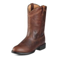This boot works hard and looks good. The Roper has traditional styling the four-row stitch pattern and roper toe epitomize the West. Superior leather and the Duratread