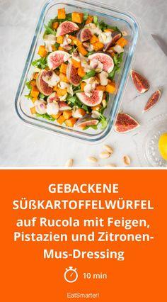 Gebackene Süßkartoffelwürfel - auf Rucola mit Feigen, Pistazien und Zitronen-Mus-Dressing - smarter - Zeit: 10 Min. | eatsmarter.de  #kokosöl #vegan #süßkartoffel #blitzrezept