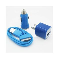 Sync Cable for iPhone iPod with USB Cord Car Charger Wall Charger Blue Iphone 5s, Iphone Cases, Cord Car, Note 3 Case, Periwinkle Blue, Navy Blue, Ipad Air Case, Galaxy Note 3, 5s Cases