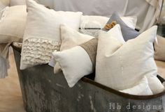 beautiful antique linen pillows from Shades of Grey (www.shadesofgreyllc.com0