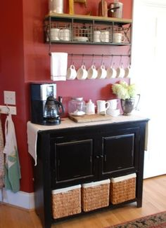 Keeps your counter and cupboard space clear for other stuff @ DIY Home Design. I like this idea for a party, or just a home that loves coffee! Kitchen Decor, Kitchen Design, Bar Kitchen, Kitchen Counters, Kitchen Storage, Kitchen Island, Space Kitchen, Mini Kitchen, Kitchen Nook