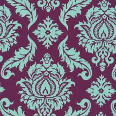 Beautiful Pattern, Beautiful colors!  Plum & Teal LOVE this (cts)  Joel Dewberry - Aviary 2 - Damask in Plum