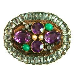 Married Victorian Gemset and Georgian Paste Brooch | From a unique collection of vintage brooches at http://www.1stdibs.com/jewelry/brooches/brooches/
