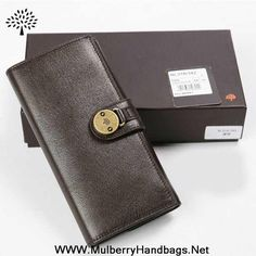 Mulberry Mens Long Natural Leather Wallet Dark Coffee Sale Online