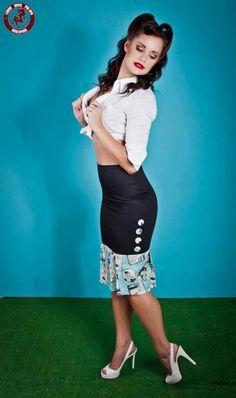 fa5fb783e8 Elvis Wiggle   Jive Pencil Skirt- Dismantled Fashions Rockabilly Pin Up  Psychobilly.  49.95