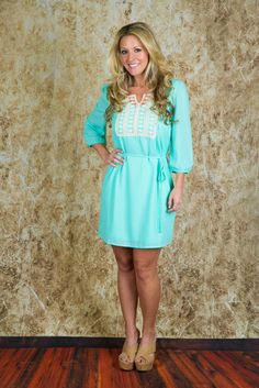 Pink Coconut Boutique | Lost Without You Dress - Mint