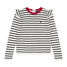 RALPH LAUREN Girls Striped Frilly Sweater - White Ralph Lauren girl's sweater crafted from soft cotton and features a round neck ribbed collar with frilly shoulder detail. The striped design contrasts well with the red neckline. The iconic pony logo embroidery is highlighted on this edgy nautical trend based sweater in navy blue.