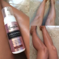 From pale to tan in just 2 hours ..here I used the Loving Tan 2HR express bronzing mousse in shade dark! I've tried a lot of tans in my time and this is by far the darkest, and still such a natural olive brown color! Give @lovingtanofficiala go for the summer! #body #tan