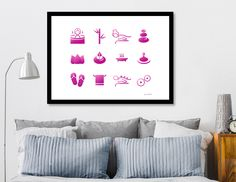 «Wellness icons : pink on white Fish Art, White Art, All Print, Metal Art, Fine Art Paper, Art Gallery, Bee, Glow, Fine Art Prints