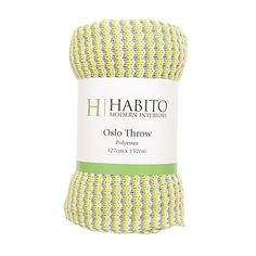 Habito Throw Polyester Oslo Knitted Yellow/Grey 127cm x 152cm