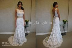 Classic Lace A-Line Wedding Dress Bridal Gown 8904 V-back Floor-Length Sweep Train Ribbon