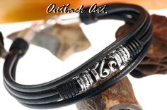 1AB-374 Finely Handcrafted Sterling Silver and Leather New ANKLET Men Bracelet.