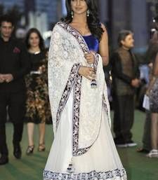 Buy white embroidered net bollywood actress priyanka chopra saree with blouse priyanka-chopra-saree online