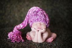 Newborn Knit Baby Hat with Tail.
