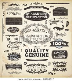 stock vector : vector set: calligraphic design elements and page decoration, Premium Quality and Satisfaction Guarantee Label collection with black grungy design
