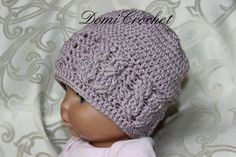 Materiál: vlna Red heart baby, háčik 4,0 mm Veľkosť 40-41 cm Na začiatku každého radu háčkujeme 2 RO, a na konci spájame do 1. P... Crochet Beanie, Crochet Hats, Art Of Beauty, Baby Born, Bellisima, Caps Hats, Creations, Weaving, Knitting
