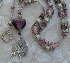 Beaded Lanyard ID Badge Holder  teacher FREE SHIPPING heart hearts purple