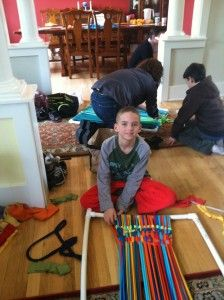 Weaving Upcycled Rugs -- fun for kids and grown-ups too! Maybe good for scouts to make dog rugs for donation to scraps animal shelter.