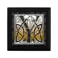 """Y Monogram Celtic Black Stone Decorative Box. Trinket Boxes. These beautiful jewelry boxes are made of lacquered wood, the jewelry boxes come 5"""" and 7"""" square Golden Oak, Ebony Black, Emerald Green, and Red Mahogany. Soft felt protects your jewelry and collectibles.   http://www.zazzle.com/y_monogram_celtic_black_stone_decorative_box_gift_box-246638821010002479?rf=238301468915483943  #JewelryBox #Monogram #MonogramJewelryBox"""