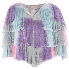TopShop Missy Fringed Cape (165 AUD) ❤ liked on Polyvore featuring outerwear, pink, purple cape, cape coats, topshop cape and fringed cape