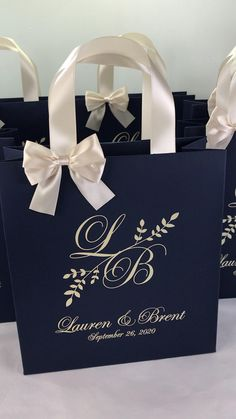 Party Gift Bags, Wedding Favor Bags, Gifts For Wedding Party, Wedding Invitations, Destination Wedding Welcome Bag, Wedding Welcome Bags, Monogram Wedding, Personalized Wedding, Blue Silver Weddings