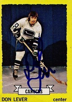 Don Lever Vancouver Canucks Autographed 1973-1974 Topps Vintage Card #111 SL COA . $7.00. Vancouver Canucks RWDon LeverHand Signed 1973-1974 Topps Card # 111Don Played for the:Vancouver CanucksAtlanta FlamesCalgary FlamesColorado RockiesNew Jersey DevilsBuffalo Sabres.GREAT AUTHENTIC HOCKEY COLLECTIBLE!!AUTOGRAPHS GUARANTEED AUTHENTIC BY SPORTS LOT, INC. WITH SPORTS LOT, INC STICKER ON ITEM.SPORTS LOT, INC. #: 13394