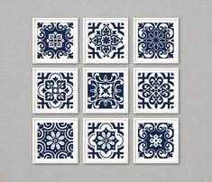Blue digital tiles, PRINTABLE Navy and white geometric wall art prints, set of 9 modern indigo geometric posters, ornate wall decor, zip - ИЗРАЗЦЫ
