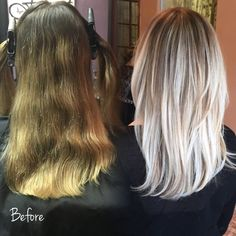 My amazing before and after color! I'm so thrilled with how my hair turned out! Balyage, blonde, beige blonde, silver blonde.